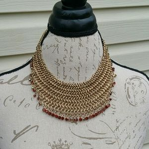 NWT extraordinary multiple layered faux gold neckl